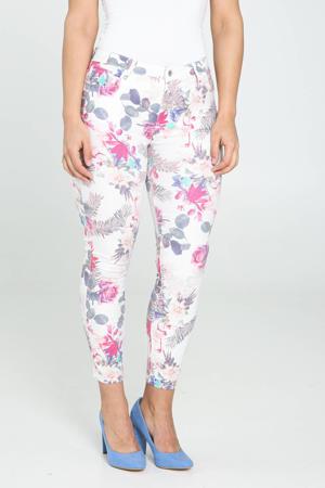 gebloemde cropped skinny broek ecru/roze/blauw