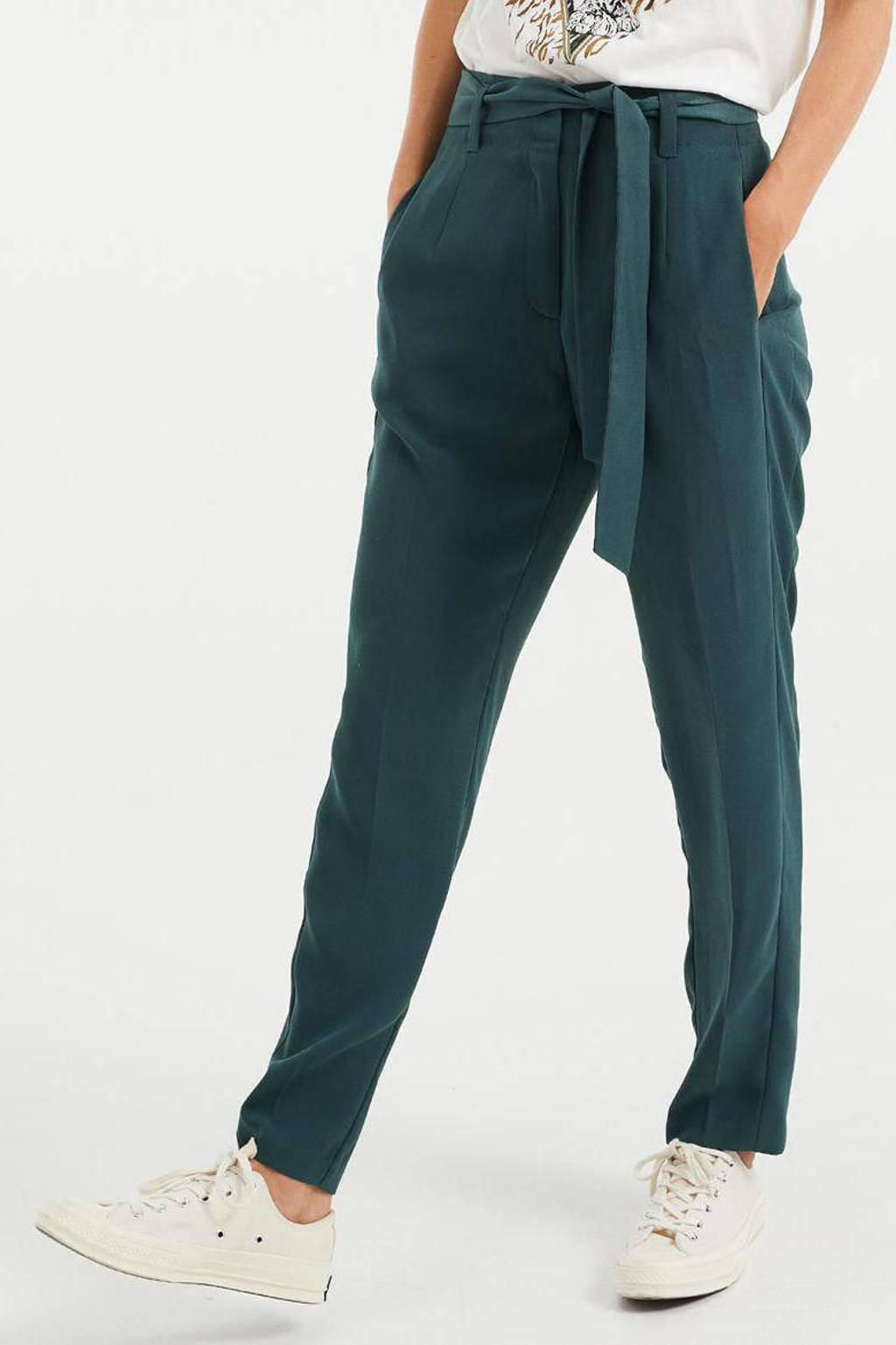 WE Fashion high waist tapered fit pantalon groen, Groen