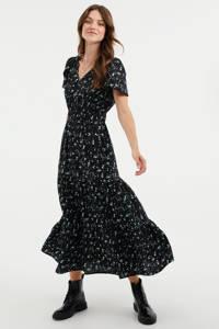 WE Fashion gebloemde A-lijn jurk zwart/lichtblauw, Zwart/lichtblauw