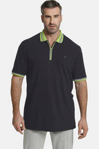 Charles Colby oversized polo EARL PAT Plus Size donkerblauw, Donkerblauw