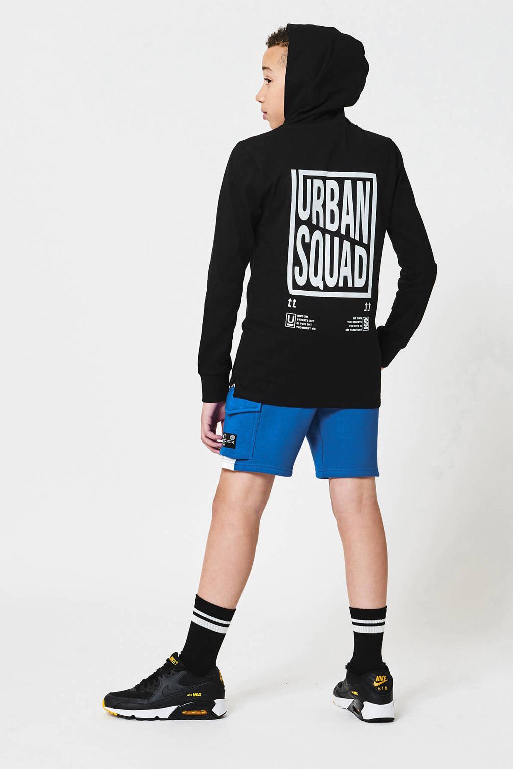 CoolCat Junior slim fit sweatshort Nathan met zijstreep blauw, Blauw
