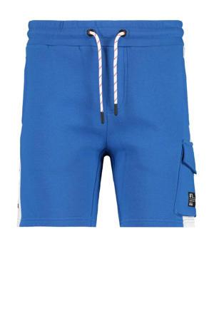slim fit sweatshort Nathan met zijstreep blauw