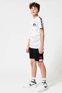 CoolCat Junior sweatshort Nathan met tekst zwart/wit, Zwart/wit