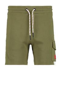 CoolCat Junior sweatshort Nathan met tekst army groen, Army groen