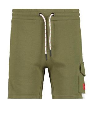 sweatshort Nathan met tekst army groen