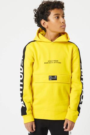 hoodie Stephy met tekst banana geel/zwart