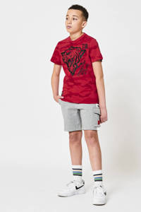 CoolCat Junior sweatshort Nathan met tekst light grey melange/wit, Light grey melange/wit