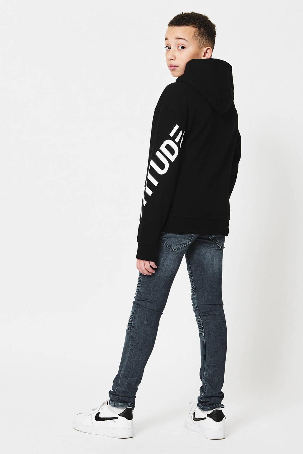 CoolCat Junior hoodie Silvain met printopdruk zwart, Zwart