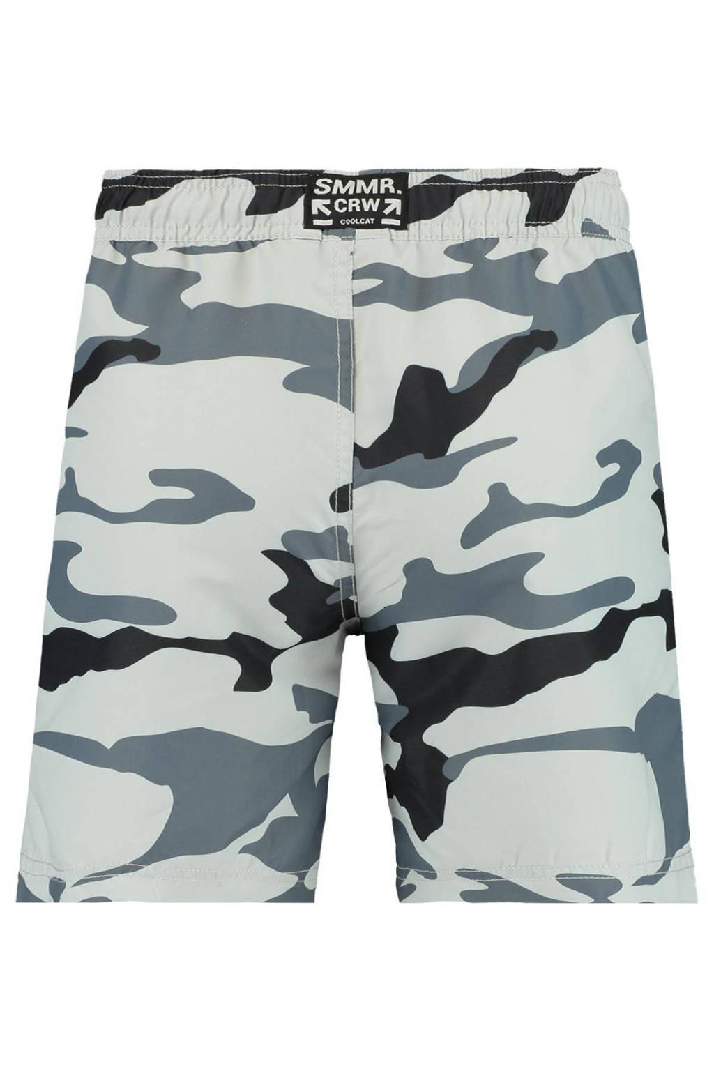CoolCat Junior zwemshort Willy met camouflage print grijs, Grijs