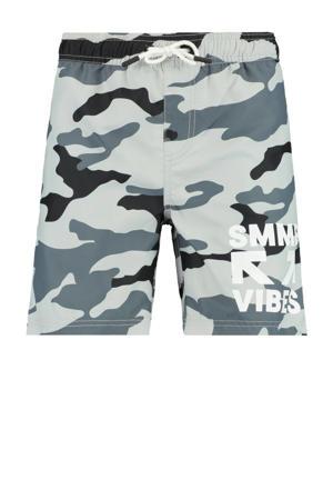 zwemshort Willy met camouflage print grijs