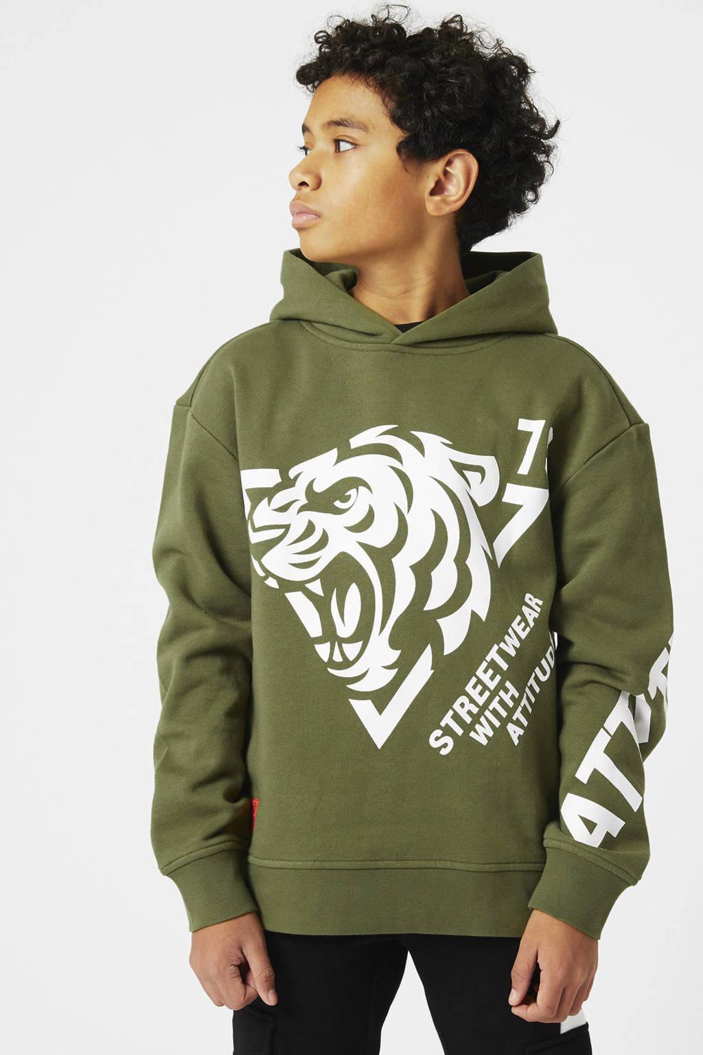 CoolCat Junior hoodie Silvain met printopdruk army groen, Army groen