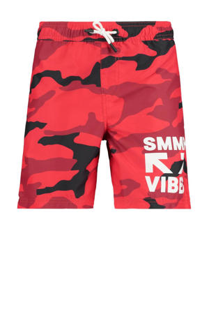 zwemshort Willy met camouflage print rood