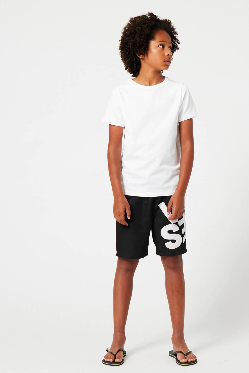 CoolCat Junior zwemshort Wave met tekst zwart/wit, Zwart/wit