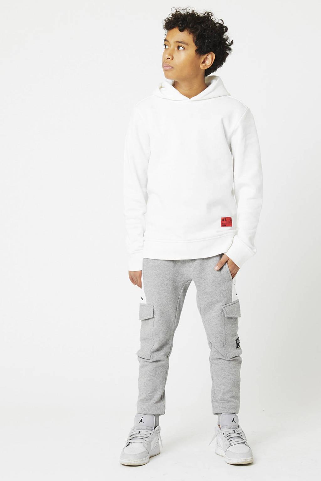 CoolCat Junior hoodie Shallow met printopdruk wit/blauw, Wit/blauw