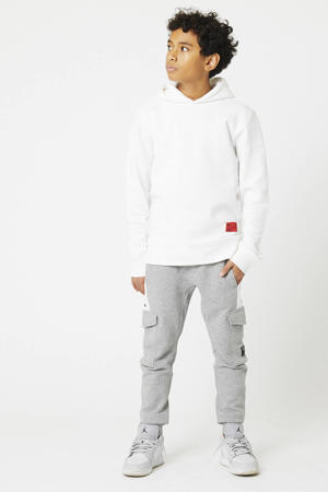 hoodie Shallow met printopdruk wit/blauw