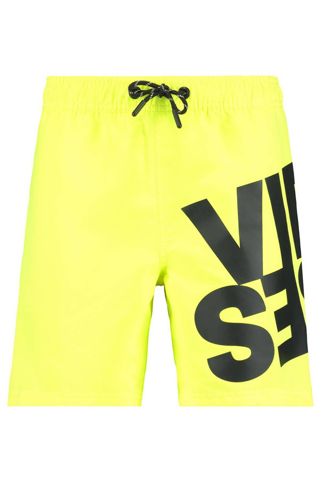 CoolCat Junior zwemshort Wave met tekst geel/zwart, Geel