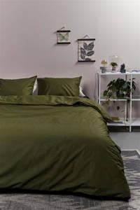 Ambiante katoenen dekbedovertrek lits-jumeaux, Olijf groen