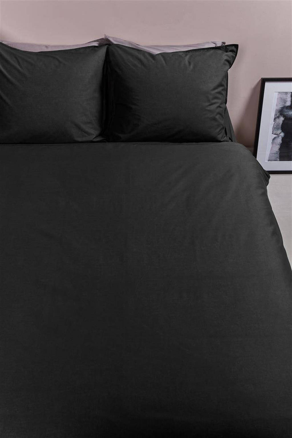 Ambiante katoenen dekbedovertrek lits-jumeaux, Zwart