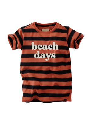 gestreept T-shirt bruin/zwart/ecru