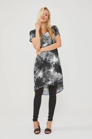tuniekjurk met bladprint wit/zwart