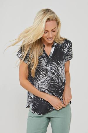 blousetop met bladprint wit/zwart