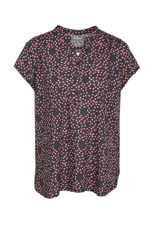 top met all over print donkerblauw/rood/wit