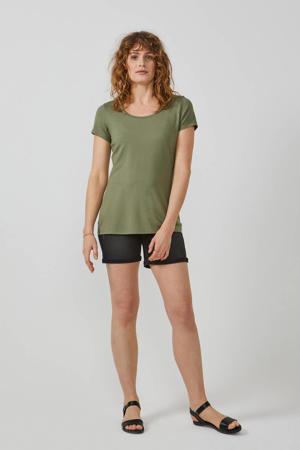 T-shirt ronde hals olijfgroen