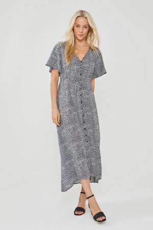 midi jurk Jazzy met all over print en volant zwart/wit