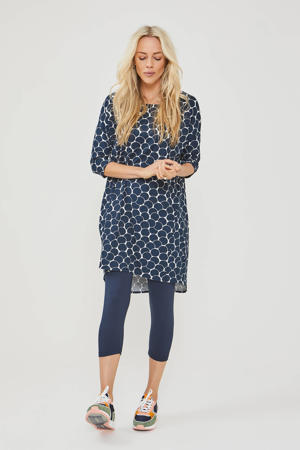 tuniekjurk met all over print donkerblauw/wit