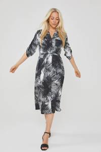 Didi jurk met bladprint zwart/wit, Zwart/wit