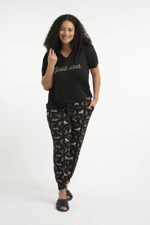 pyjama met printopdruk zwart