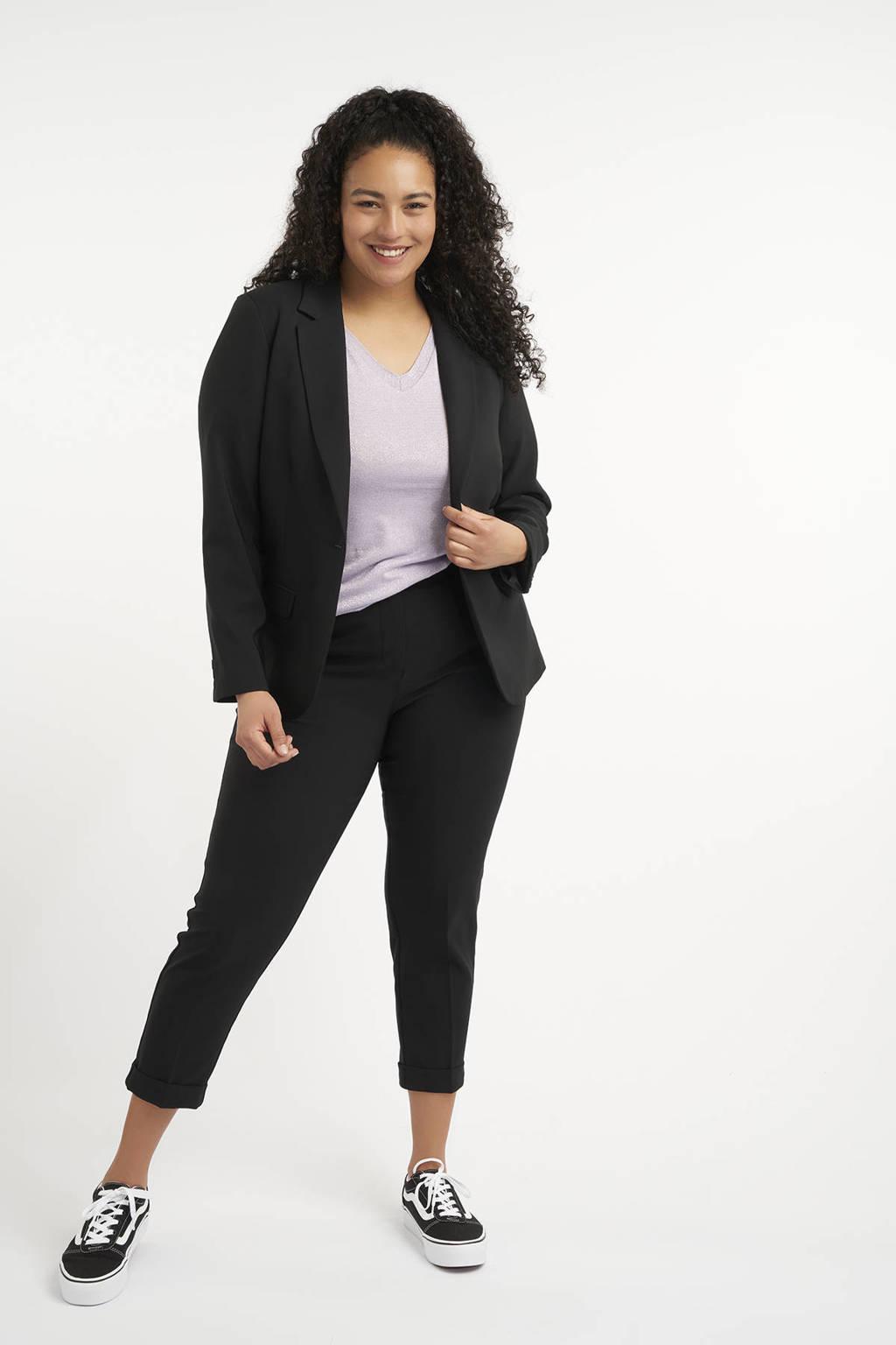MS Mode cropped slim fit broek zwart, Zwart