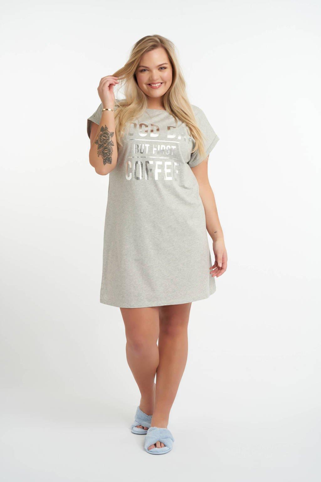MS Mode nachthemd met printopdruk grijs, Grijs