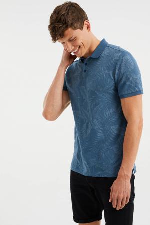 slim fit shirt met jacquard petrol grey