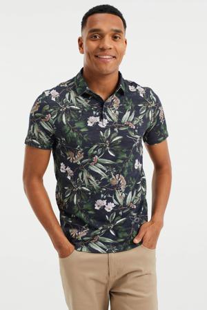 gebloemd slim fit shirt black uni