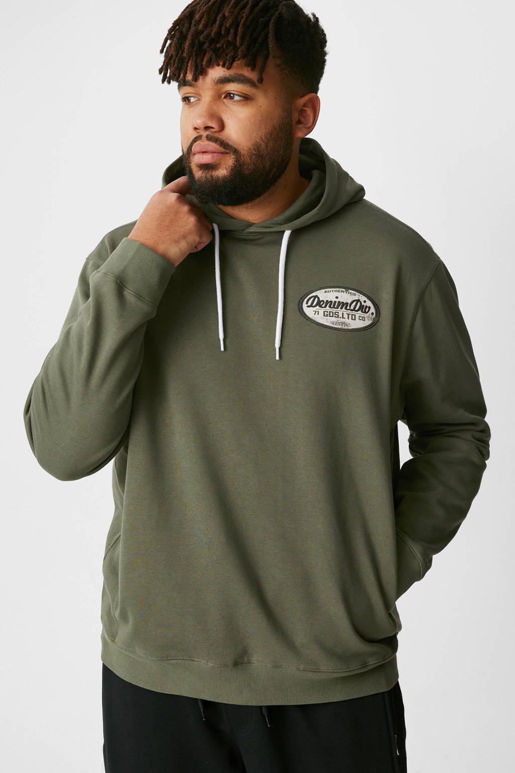 C&A XL hoodie met printopdruk olijfgroen, Olijfgroen