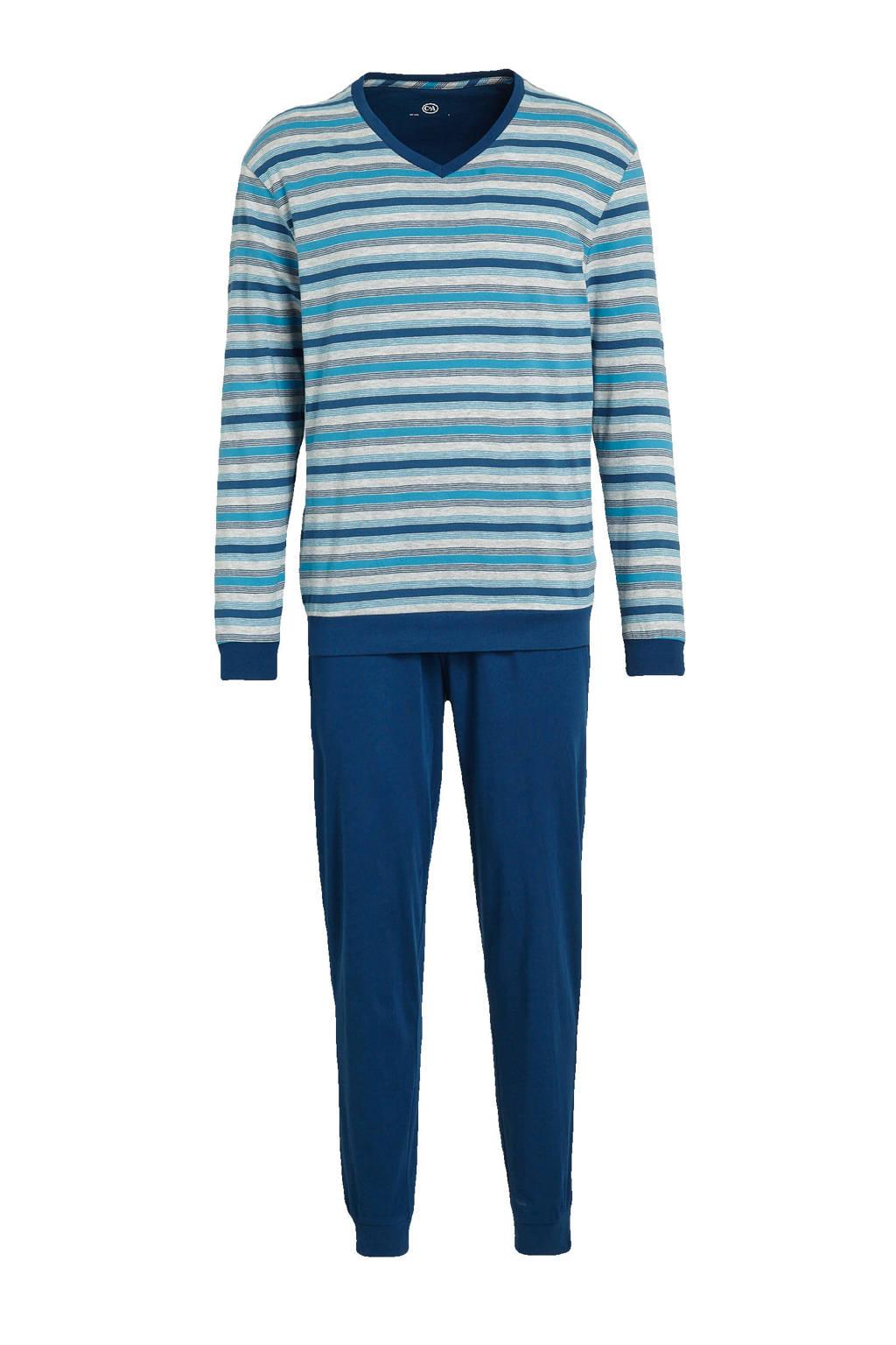 C&A Canda pyjama met strepen blauw, Donkerblauw