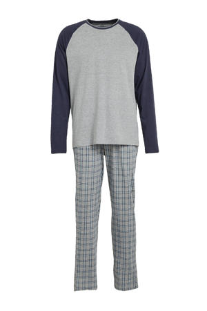 pyjama met ruit grijs