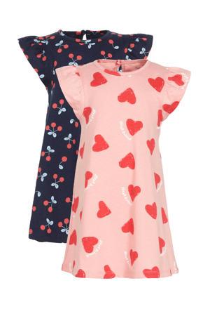 jurk - set van 2 hartjes/kersen roze/blauw