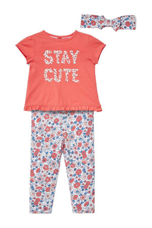 newborn baby T-shirt + broek + haarband koraalrood/wit/blauw