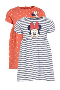 C&A Baby Club jurk - set van 2 Minnie Mouse roze/blauw/wit, Koraalrood/wit/blauw