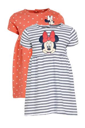jurk - set van 2 Minnie Mouse roze/blauw/wit