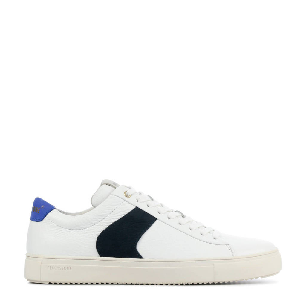 Blackstone VG09  leren sneakers wit, Wit/zwart/blauw