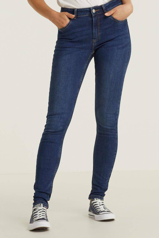 anytime mid rise skinny jeans donker blauw, Denim blauw