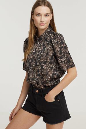 blouse TIREA PES 515 met all over print zwart