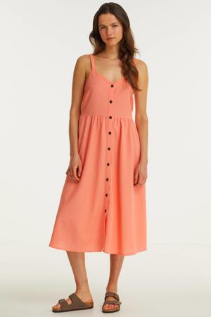 jurk met knopen koraal