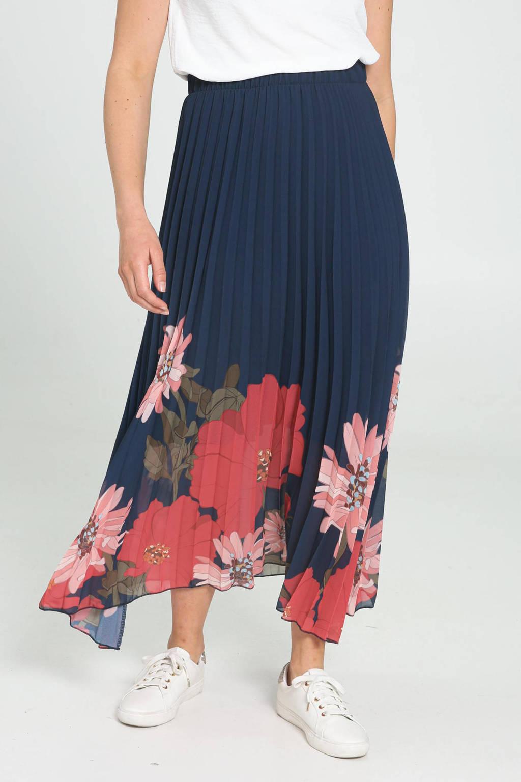Cassis gebloemde semi-transparante rok marine/rood/roze, Marine/rood/roze
