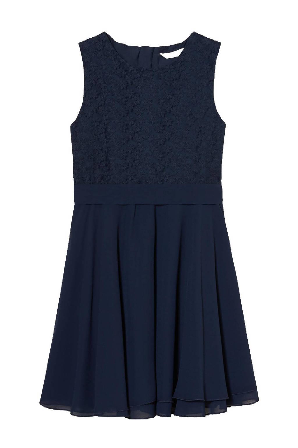 C&A jurk met kant donkerblauw, Donkerblauw