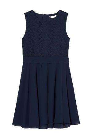 jurk met kant donkerblauw