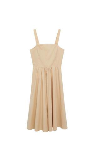 jurk met plooien lichtbeige